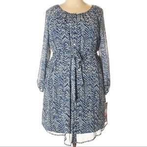 NWT PURE ENERGY Chevron 3/4 Sleeve Belted Dress